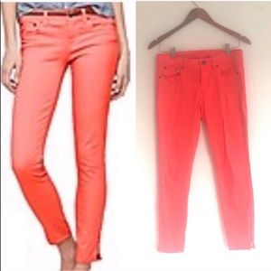 J Crew Garment Dyed Zip Up Ankle Toothpick Jeans